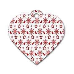 Christmas Pattern  Dog Tag Heart (one Side) by Onesevenart