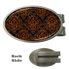 Damask1 Black Marble & Brown Marble Money Clip (oval) by trendistuff