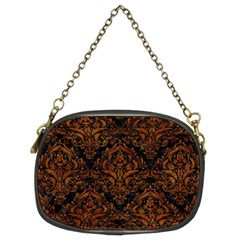 Damask1 Black Marble & Brown Marble Chain Purse (two Sides) by trendistuff