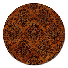 Damask1 Black Marble & Brown Marble (r) Magnet 5  (round) by trendistuff