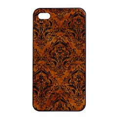 Damask1 Black Marble & Brown Marble (r) Apple Iphone 4/4s Seamless Case (black) by trendistuff