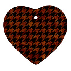 Houndstooth1 Black Marble & Brown Marble Ornament (heart) by trendistuff