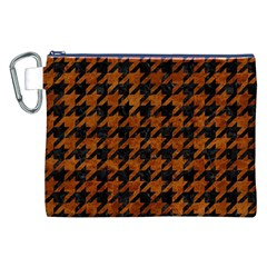Houndstooth1 Black Marble & Brown Marble Canvas Cosmetic Bag (xxl) by trendistuff