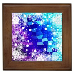 Christmas Snowflake With Shiny Polygon Background Vector Framed Tiles by Onesevenart