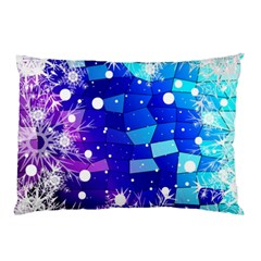 Christmas Snowflake With Shiny Polygon Background Vector Pillow Case by Onesevenart