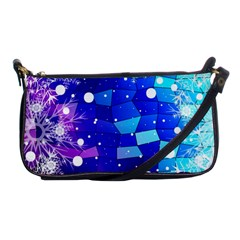 Christmas Snowflake With Shiny Polygon Background Vector Shoulder Clutch Bags by Onesevenart