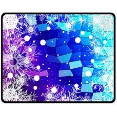 Christmas Snowflake With Shiny Polygon Background Vector Double Sided Fleece Blanket (medium)  by Onesevenart