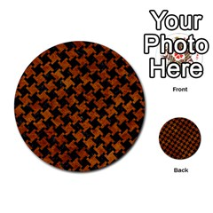 Houndstooth2 Black Marble & Brown Marble Multi Purpose Cards (round) by trendistuff