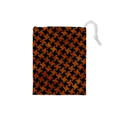 Houndstooth2 Black Marble & Brown Marble Drawstring Pouch (small) by trendistuff