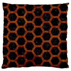 Hexagon2 Black Marble & Brown Marble Large Flano Cushion Case (two Sides) by trendistuff