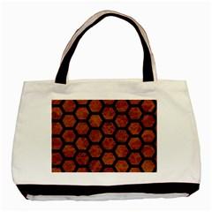 Hexagon2 Black Marble & Brown Marble (r) Basic Tote Bag by trendistuff