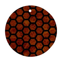 Hexagon2 Black Marble & Brown Marble (r) Round Ornament (two Sides) by trendistuff