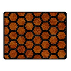 Hexagon2 Black Marble & Brown Marble (r) Double Sided Fleece Blanket (small) by trendistuff
