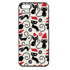 Cute Cat Christmas Seamless Pattern Vector  Apple Iphone 5 Seamless Case (black) by Onesevenart