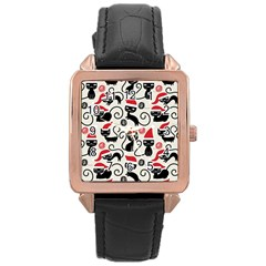 Cute Cat Christmas Seamless Pattern Vector  Rose Gold Leather Watch  by Onesevenart