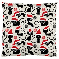 Cute Cat Christmas Seamless Pattern Vector  Large Flano Cushion Case (two Sides) by Onesevenart