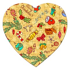 Cute Christmas Seamless Pattern Vector Jigsaw Puzzle (Heart) by Onesevenart