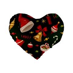 Cute Christmas Seamless Pattern Standard 16  Premium Heart Shape Cushions by Onesevenart