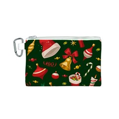 Cute Christmas Seamless Pattern Canvas Cosmetic Bag (s) by Onesevenart
