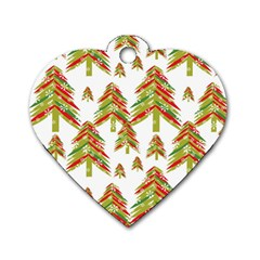 Cute Christmas Seamless Pattern Vector    Dog Tag Heart (one Side) by Onesevenart