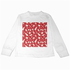Pattern Christmas Elements Seamless Vector Kids Long Sleeve T Shirts by Onesevenart