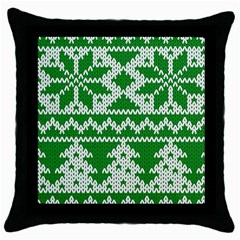 Knitted Fabric Christmas Pattern Vector Throw Pillow Case (black) by Onesevenart