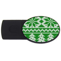 Knitted Fabric Christmas Pattern Vector Usb Flash Drive Oval (4 Gb)  by Onesevenart