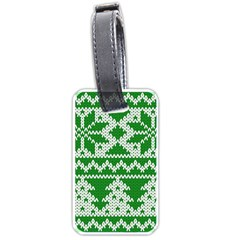 Knitted Fabric Christmas Pattern Vector Luggage Tags (two Sides) by Onesevenart