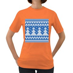 Knitted Fabric Christmas Pattern Vector Women s Dark T Shirt by Onesevenart