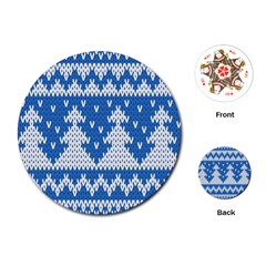 Knitted Fabric Christmas Pattern Vector Playing Cards (Round)  by Onesevenart