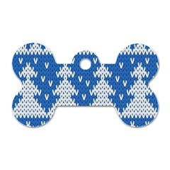 Knitted Fabric Christmas Pattern Vector Dog Tag Bone (two Sides) by Onesevenart
