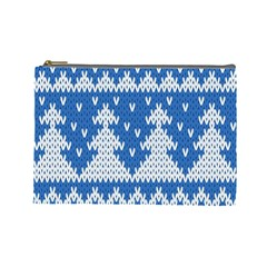 Knitted Fabric Christmas Pattern Vector Cosmetic Bag (large)  by Onesevenart