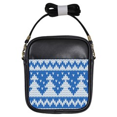 Knitted Fabric Christmas Pattern Vector Girls Sling Bags by Onesevenart