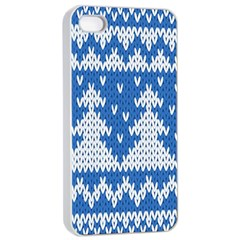 Knitted Fabric Christmas Pattern Vector Apple Iphone 4/4s Seamless Case (white) by Onesevenart