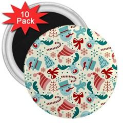 Pattern Christmas Elements Seamless Vector       3  Magnets (10 Pack)  by Onesevenart