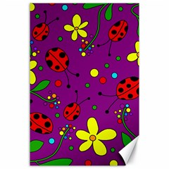 Ladybugs   Purple Canvas 24  X 36  by Valentinaart