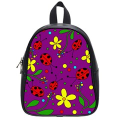Ladybugs   Purple School Bags (small)  by Valentinaart