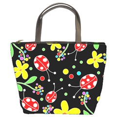 Flowers and ladybugs Bucket Bags by Valentinaart