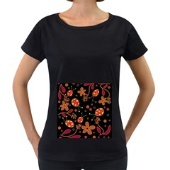 Flowers And Ladybugs 2 Women s Loose Fit T Shirt (black) by Valentinaart