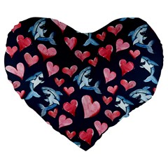 Shark Lover Large 19  Premium Flano Heart Shape Cushions by BubbSnugg