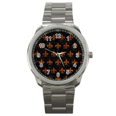 Royal1 Black Marble & Brown Marble (r) Sport Metal Watch by trendistuff