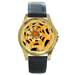 Spider Helloween Yellow Round Gold Metal Watch by AnjaniArt