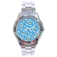 White Clouds Stainless Steel Analogue Watch by AnjaniArt