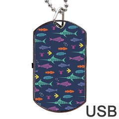 Twiddy Tropical Fish Pattern Dog Tag Usb Flash (one Side) by AnjaniArt