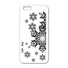 Beautiful Black And White Snowflakes Apple Iphone 6/6s White Enamel Case by Brittlevirginclothing