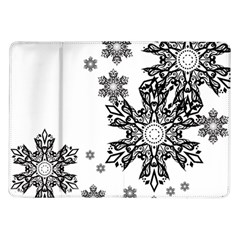 Beautiful Black Ans White Snowflakes Samsung Galaxy Tab 10 1  P7500 Flip Case by Brittlevirginclothing