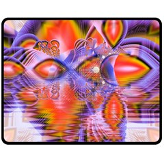 Crystal Star Dance, Abstract Purple Orange Fleece Blanket (medium)  by DianeClancy