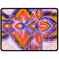 Crystal Star Dance, Abstract Purple Orange Double Sided Fleece Blanket (large)  by DianeClancy