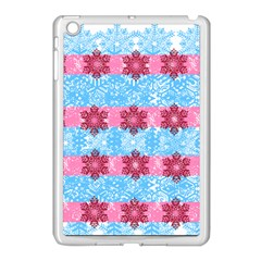 Pink Snowflakes Pattern Apple Ipad Mini Case (white) by Brittlevirginclothing