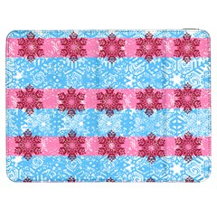 Pink Snowflakes Pattern Samsung Galaxy Tab 7  P1000 Flip Case by Brittlevirginclothing